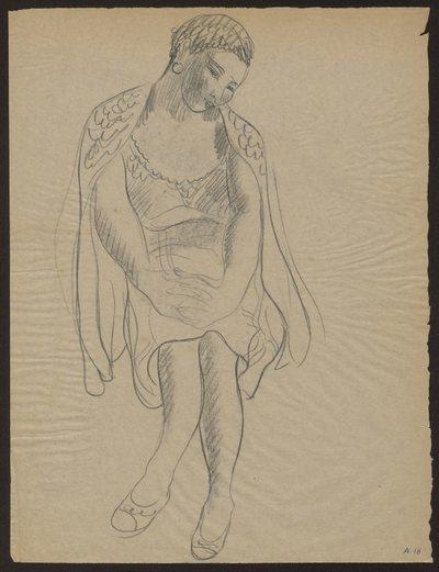 Kobieta siedząca w krótkiej sukience i swetrze