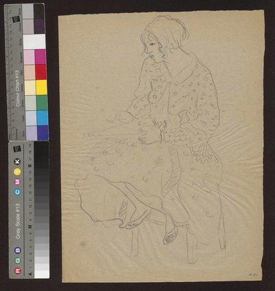 Kobieta w szerokiej sukni siedząca na stołku