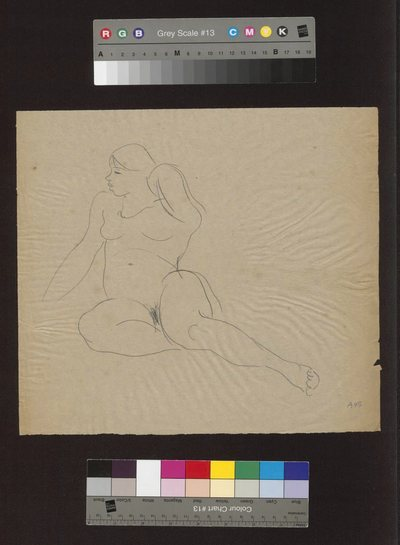 Akt siedzący z podwiniętymi nogami i głową zwróconą w lewo