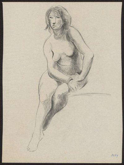 Akt siedzący ze spuszczonymi nogami, ujęty na wprost