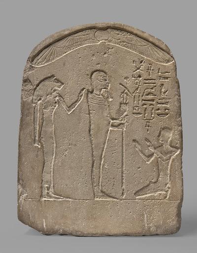 Stela z Ptahem i lwiogłową boginią