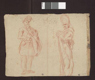 Dwóch żołnierzy i koń; verso: Brodaty mężczyzna w wysokiej czapie i żołnierz wsparty na muszkiecie