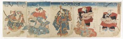 Poliptyk z wizerunkami aktorów ze sztuk o braciach Soga; tytuł kompozycji: Shichi fukujin Soga-no sekai (Siedem bóstw szczęścia ze świata Sogów)