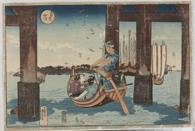 Tsukudajima, wyspa Tsukuda widziana między podporami mostu; rycina z cyklu