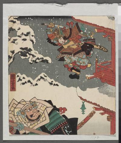 Sato Tadanobu, odziany w zbroję Yoshitsune, skacze z dachu by rozprawić się z mnichem-wojownikiem Yokogawą Kakuhanem