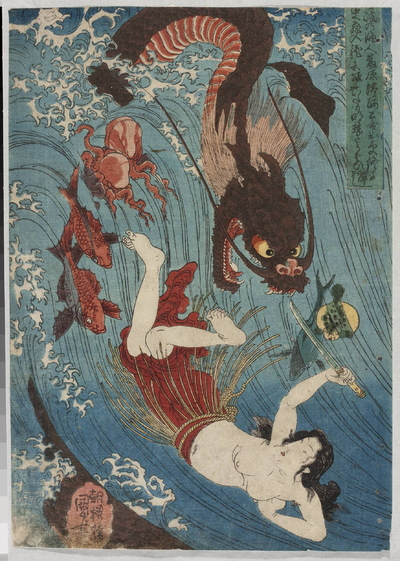 Poławiaczka z perłą broni się sztyletem przed smokiem