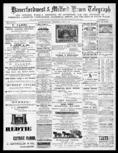 Haverfordwest and Milford Haven telegraph and general weekly reporter for the counties of Pembroke, Cardigan, Carmarthen, Glamorgan, and the rest of South Wales