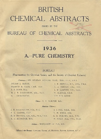 British Chemical Abstracts. A. Pure Chemistry, Index of author's names