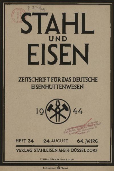 Stahl und Eisen, Jg. 64, Heft 34