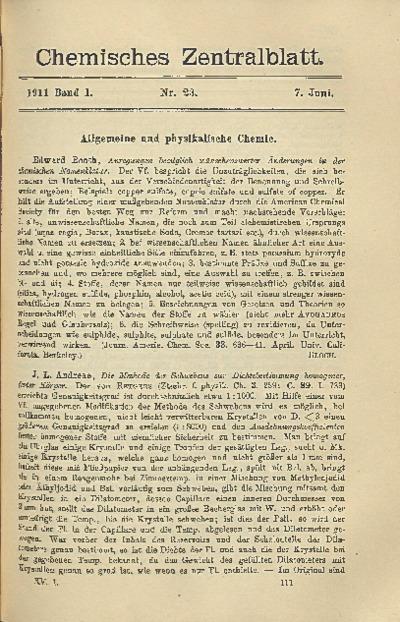Chemisches Zentralblatt : vollständiges Repertorium für alle Zweige der reinen und angewandten Chemie, Jg. 82, Bd. 1, Nr. 23
