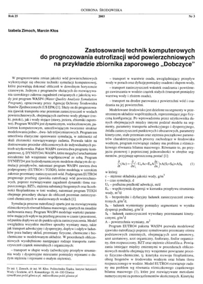 Application of computer techniques to the estimation of surface water quality