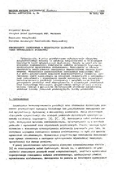 Subgradienty zagregowane w relaksacjach Lagrange'a zadań optymalizacji dyskretnej