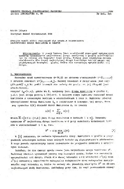 Analiza wrażliwości rozwiązań dla zadania wyznaczania najkrótszej drogi Hamiltona w grafie