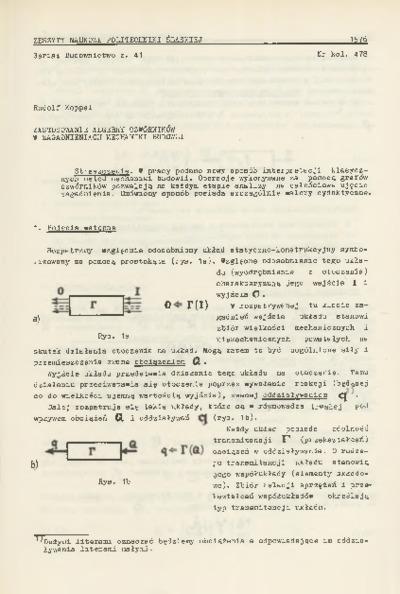 Zastosowanie algebry czwórników w zagadnieniach mechaniki budowli