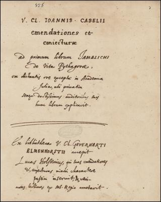 Caselii notae ad Iamblichum
