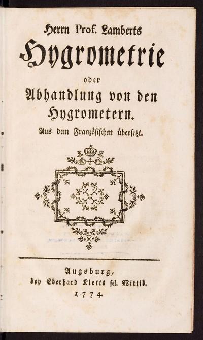 Hygrometrie oder Abhandlung von den Hygrometern, Fortsetzung der Hygrometrie