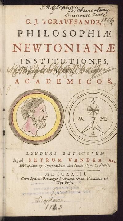 Philosophiae Newtonianae Institutiones, in usus academicos