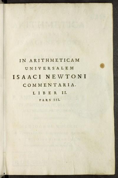 Arithmetica universalis : sive de compositione et resolutione arithmetica; Bd. 3