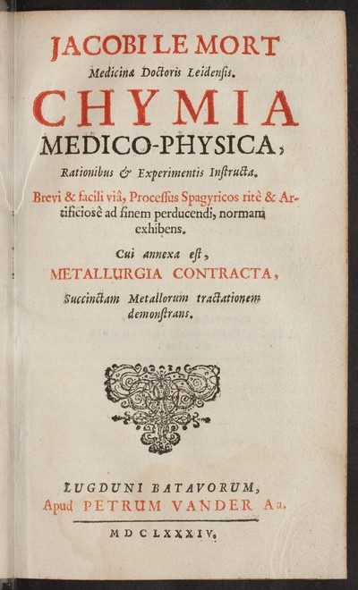 Chymia medico-physica : rationibus & experimentis instructa