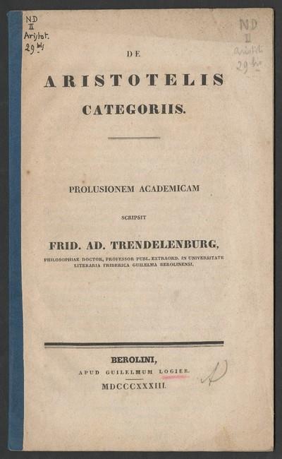 De Aristotelis categoriis : prolusionem academicam