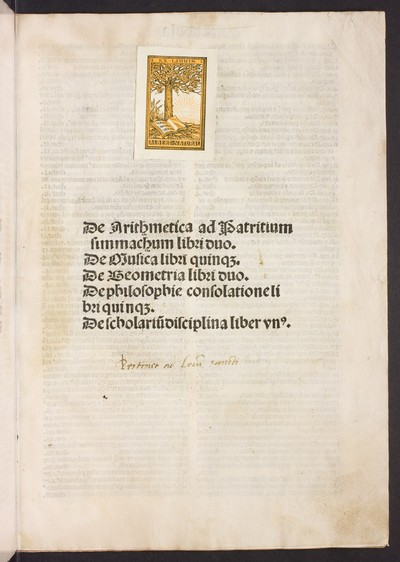 De arithmetica ad Patritium simmachum libri duo. De musica libri quinque. De geometria libri duo