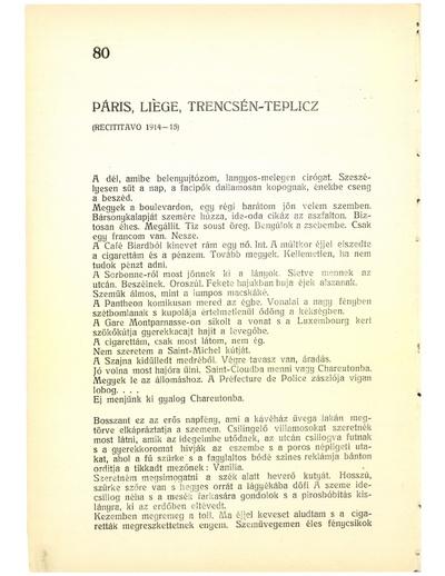 Páris, Liège, Trencsén-Teplicz (Recititavo 1914-15)