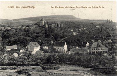 Gruss aus Stolzenburg. Ev. Pfarrhaus, sachsische Burg, Kirche und Schule A. B. [Sibiu - Slimnic]