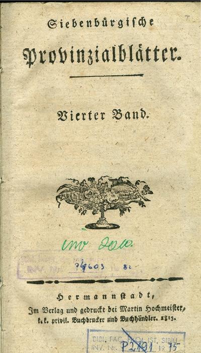Siebenbürgische Provinzialblätter