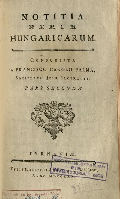Notitia rerum Hungaricarum