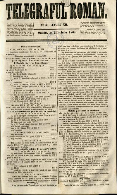 Telegraful Român - 1864 (Iulie - Decembrie)