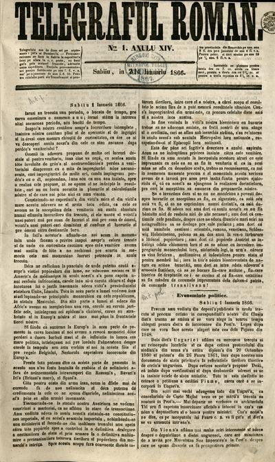 Telegraful Român - 1866 (Ianuarie-Iunie)