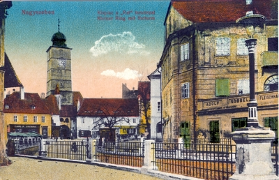 Nagyszeben - Kispiac a Rat taronnyal, Kleiner-Ring mit Ratturm