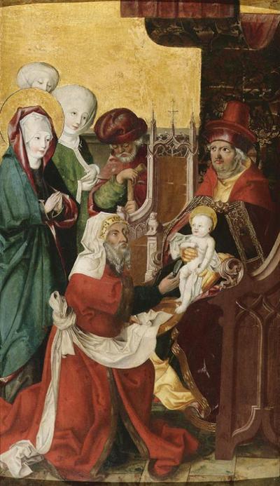 Beschneidung Christi (Innenseite); Maria einer Heimsuchung (Außenseite)