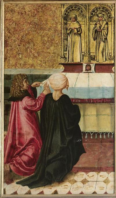 Ein Mann befiehlt sein Weib den Hll. Cosmas und Damian