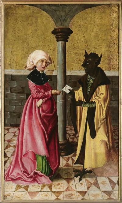 Die Überbringung der falschen Botschaft durch den Teufel (Legende der Hll. Cosmas und Damian)