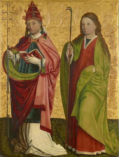 Rechter Flügel des sog. Pretschlaipfer-Triptychons: Hll. Gregor und Agathe (Innenseite); Hll. Erasmus und Barbara (Außenseite)