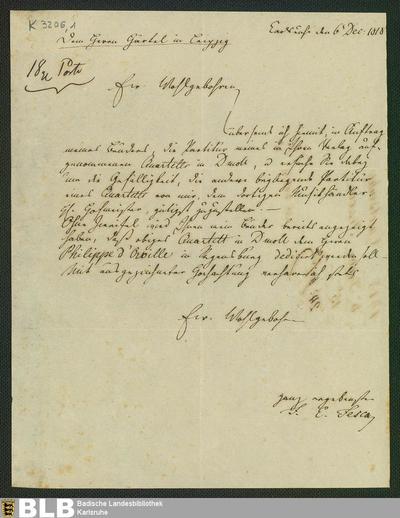 Brief von Friedrich Ernst Fesca an Gottfried Christoph Härtel vom 6.12.1818 - K 3206,1