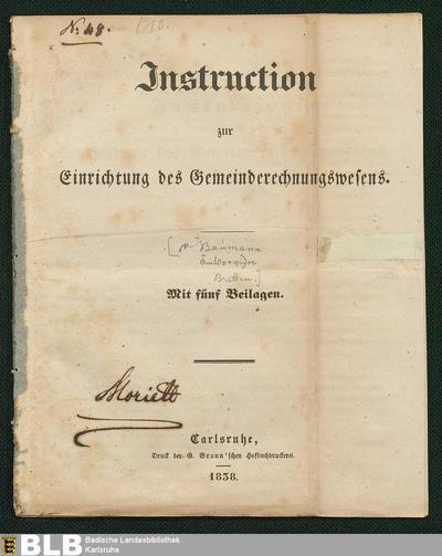 Instruction zur Einrichtung des Gemeinderechnungswesens