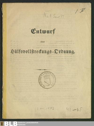 Entwurf einer Hülfsvollstreckungs-Ordnung