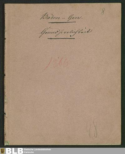 Die GrundherrlichkeitsVerfassung in dem Grosherzogthum Baden betreffend (Constitutions-Edict, 4)
