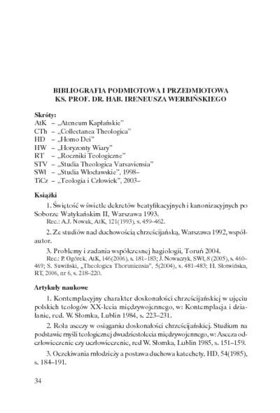 Bibliografia podmiotowa i przedmiotowa ks. prof. dr. hab. Ireneusza Werbińskiego