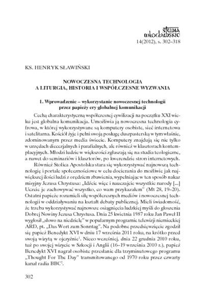 Nowoczesna technologia a liturgia : historia i współczesne wyzwania