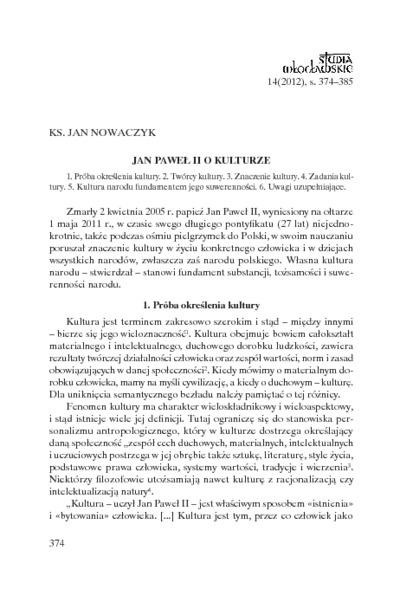 Jan Paweł II o kulturze