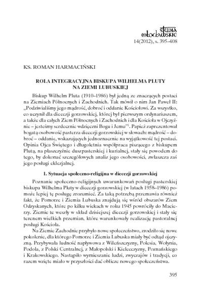 Rola integracyjna biskupa Wilhelma Pluty na Ziemi Lubuskiej