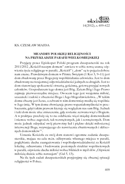 Meandry polskiej religijności na przykładzie parafii wielkomiejskiej