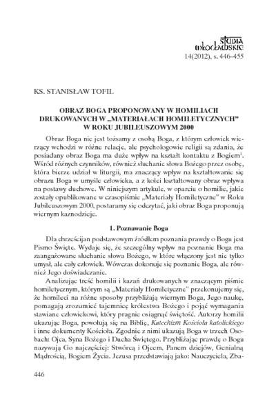 """Obraz Boga proponowany w homiliach drukowanych w """"Materiałach Homiletycznych"""" w Roku Jubileuszowym 2000"""