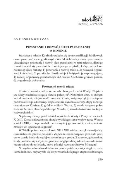 Powstanie i rozwój sieci parafialnej w Koninie