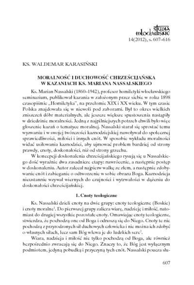 Moralność i duchowość chrześcijańska w kazaniach ks. Mariana Nassalskiego