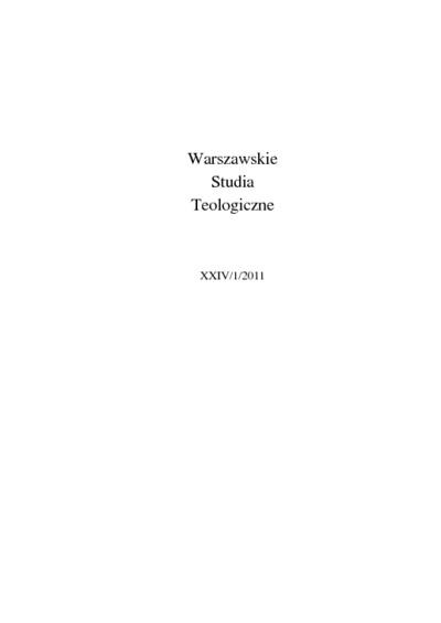 Warszawskie Studia Teologiczne. T. 24, [cz.] 1 (2011). Słowo wstępne