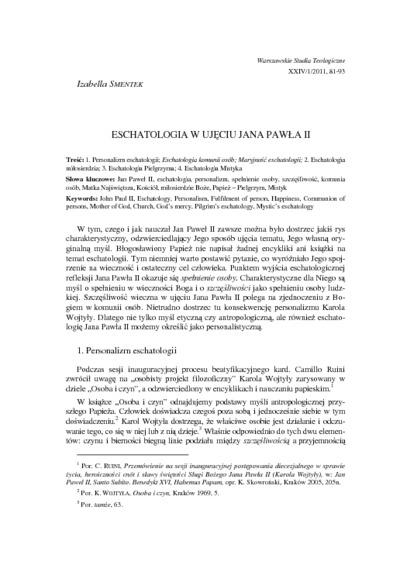 Eschatologia w ujęciu Jana Pawła II